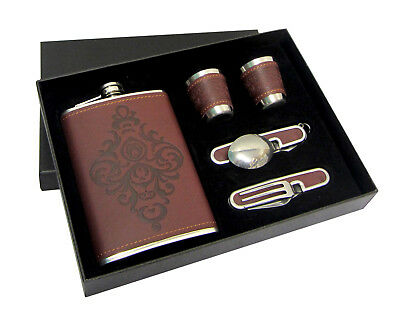 PU Leather Wine Hip Flask Gift Set Stainless Steel Bottle Bar Spoon Fork 9oz