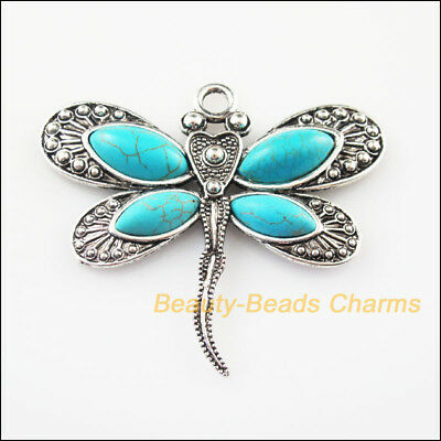 1Pc Antiqued Silver Tone Flying Dragonfly Animal Charms Pendants 53x59mm