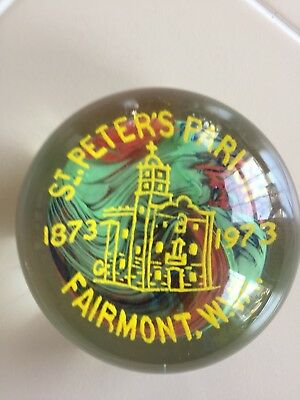 1873-1973 FAIRMONT WV ST. PETER'S PARISH CHURCH GLASS PAPERWEIGHT Free Shipping!