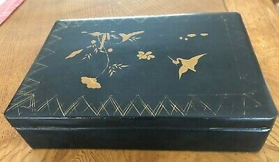 Beautiful Antique Oriental  Laquered box Stork & Leaf Pattern
