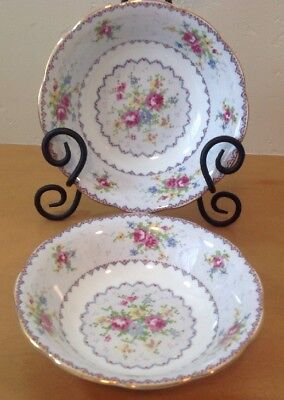 Royal Albert Petit Point Set Of 2 Coupe Soup Cereal Bowls Needlepoint England