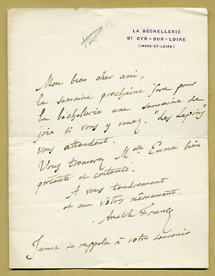 Anatole France († 1924) - French author - Autograph letter signed - Nobel Prize