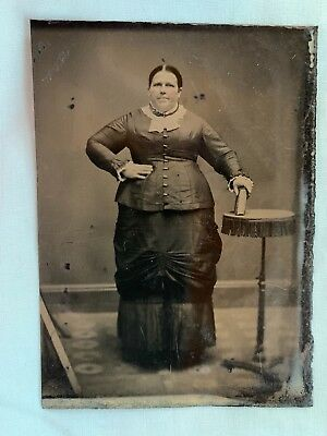 1800's Antique Tintype Photo Large Woman Let the Fat Lady Sing