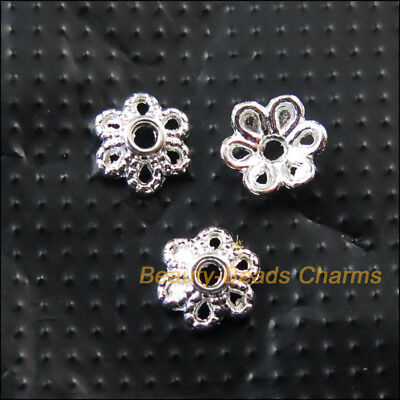 70Pcs Silver Plated Tiny Flower End Bead Caps Connectors 6mm