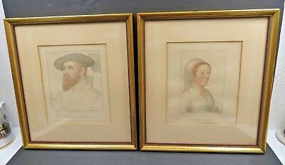 Antique lithograph pair of portrait Lord Wentworth Majesty's Collection framed