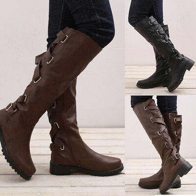 32ade0d9d798 Womens Flat Low Heel Winter Boots Knee High Wide Calf Motorcycle Riding  Shoes