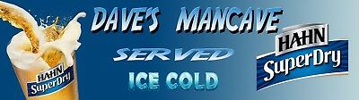 HAHN SUPER DRY MANCAVE BANNER Work Shop Garage Shed Bar Whisky