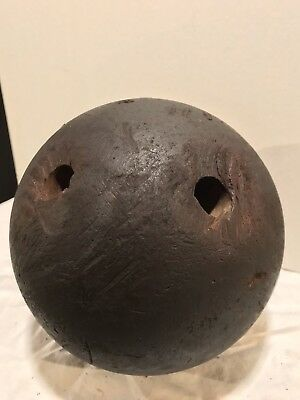 Vintage 1800 S Wooden Bowling Ball 2 Holes Antique Ball Bowl Old