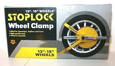 "Stoplock HG400 Wheel Clamp New In Box - Yellow 13""-15"" Wheels"