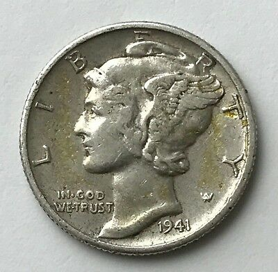 Dated : 1941 - Silver Coin - USA - One Dime - American Coin
