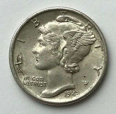 Dated : 1943 - Silver Coin - USA - One Dime - American Coin