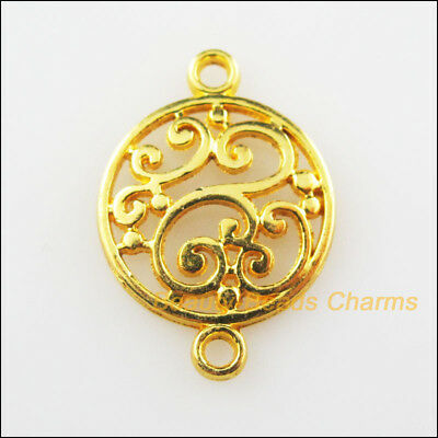 25Pcs Gold Plated Flower Clouds Round Circle Charms Connectors 14x20.5mm