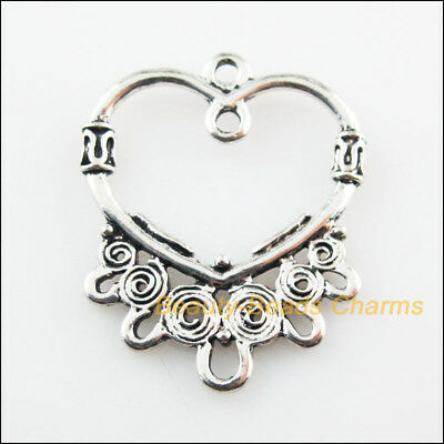 5Pcs Tibetan Silver Tone Flower Heart Circle Charms Connectors 24.5x30mm