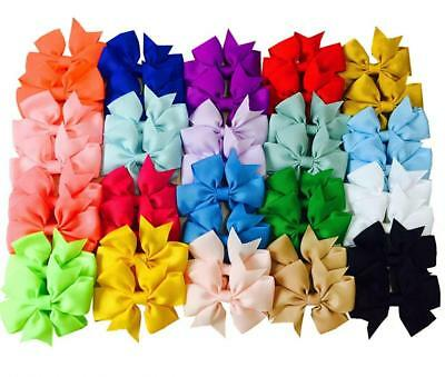 Big Elephant 40 Pcs 3 Inch Kids Baby Girls Fashion Hair Bows Clips Accessories