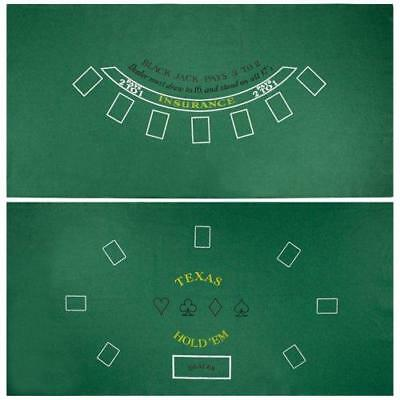 Brybelly Blackjack & Texas Hold 'Em Felt Mat – 2-in-1 Gaming Table Top for...