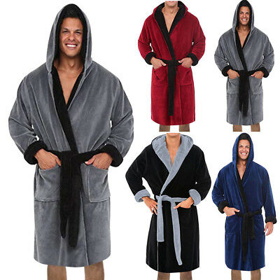 US Men Winter Lengthened Plush Shawl Bathrobe Home Clothes Long Sleeve Robe Coat