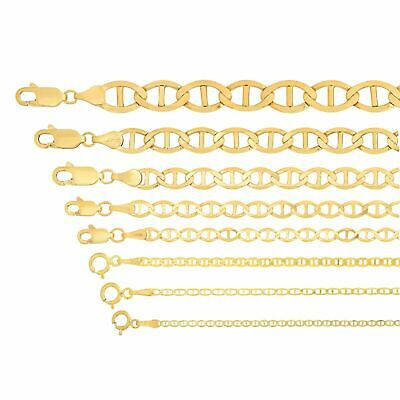 """Solid 14kt Yellow Gold Mariner Link 1.1-7.4mm Chain Necklace Pendant Sz 16""""-26'"""