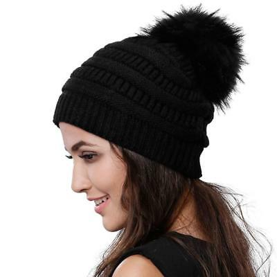 a4646876794 Womens Winter Knit Beanie Hat Slouchy Skull Cap Real Fur Pom Hats For Girls.