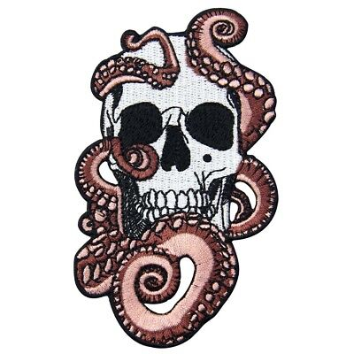 Embroidered Patches Iron Sew On patch transfers Badges appliques Skull  Octopus