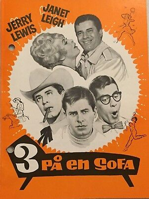 Three On A Couch Jerry Lewis Janet Leigh Vintage 1966 Danish Movie Program