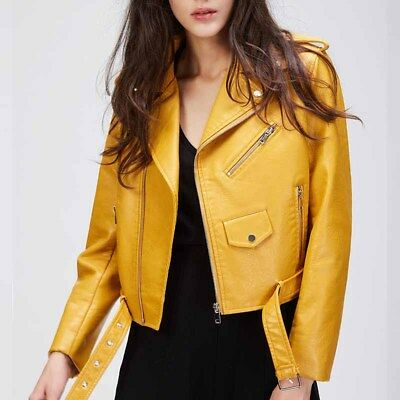 Women's Punk Lapel Zipper Belted Leather Jacket Winter Motorcycle Short Coat