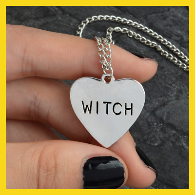 Witch necklace Heart Engraved Gothic Witchcraft Wiccan Halloween Goth jewelry