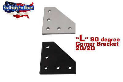 Black 90° Plate Bracket for 2020 Aluminum Extrusion