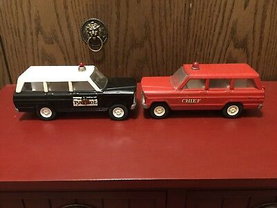 Vintage Tonka Jeep Wagoneer's Lot Of 2 Highway Patrol And Fire Chief 1960's.