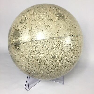 """Rand McNally 12"""" Inch Lunar Globe w/ Stand1969 Moon Space Age Map Gray Detailed"""