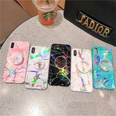 iPhone XS Max XR X 8 7 6s Plus Bling Glitter Laser Marble Pattern Kickstand Case