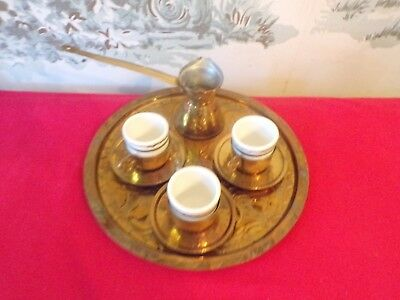 Vintage Turkish Coffee Brass Serving Set--Tray/Server/3 Ceramic cups and saucers