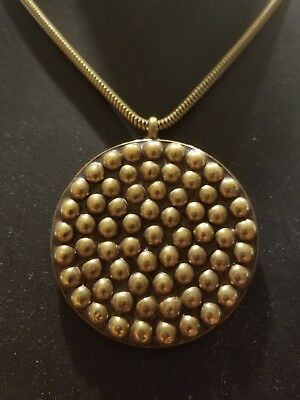 Vintage Brass Concentric Ball Disk Pendant with Snake Chain Baer SF