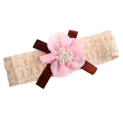 Baby Toddler Girl Lace Flower Bow Hair Clip Pin Band Headband (light pink) E5I7