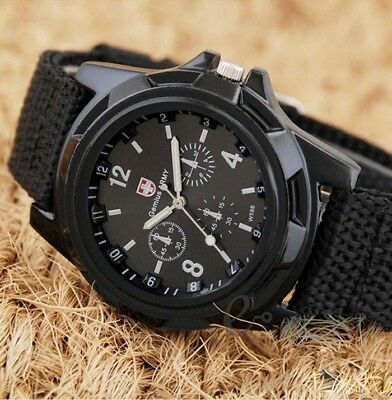 SWISS Round Dial Nylon Strap Band Men Boys Military Army Quartz Wrist Watch Gift
