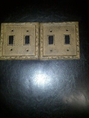 Rustic Antique Brown Cast Iron Double Switch Plate Cover Lot Of 2