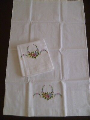 Pair Vintage Pillow Cases Shabby Chic Embroidered Cotton #2