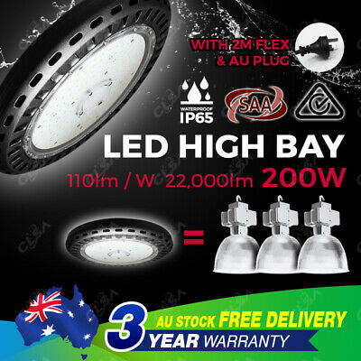 LED High Bay Lights 200W UFO Factory Warehouse Gym Industrial Shed Highbay Light