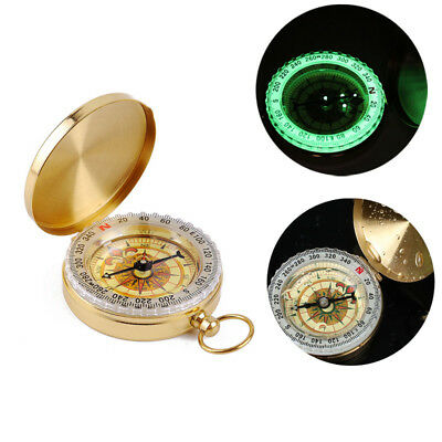 Retro Design Brass Noctilucent Pocket Compass Hiking Camping Watch Style Outdoor