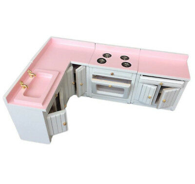 x4 1:12 Dollhouse Miniature Furniture Kitchen Cabinet Set Basin Stove Roaster ^