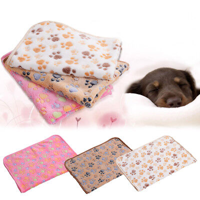 Warm Pet Mat Small Paw Print Cat Dog Puppy Fleece Soft Blanket Bed Cushion Pad