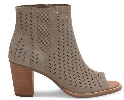 3c5ad619e54 NEW TOMS Majorca Peep Toe Ankle Bootie Desert Taupe Suede Perforated Leaf  US 11