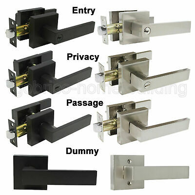 Square Door Lever Handle Lock Passage Privacy/Dummy Knobs Keyed Entry Locksets