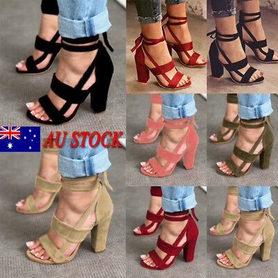 Au Ladies Women High Heels Ankle Strappy Sandals Open Peep Toe Shoes Size 3-7.5
