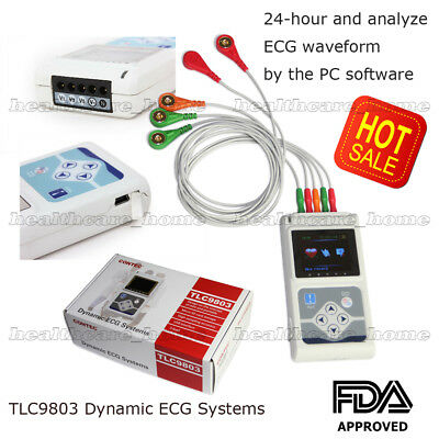 3-Lead Channel 24hour ECG/EKG Holter Recorder Analyzer System+PC Software