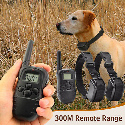 Remote 300M Dog Shock Collar Electric LCD Pet Training No Bark For 1/ 2 Dogs