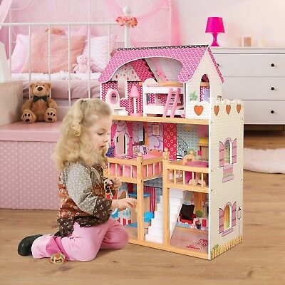 Dolls House Large Wooden Kids Play DollHouse with Furniture & Staircase 17PCS