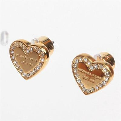 6a3e53ac8ff5 MICHAEL KORS PAVE Rose Gold Tone Logo Heart Charm Stud Earrings ...