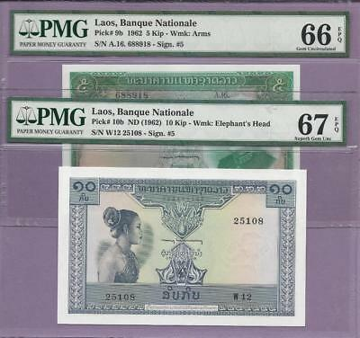 """1962 Laos, Banque Nationale  Pick 9b & 10b  PMG EPQ """"SCROLL DOWN FOR SCANS"""""""