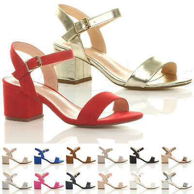 60ea55cd4f1 Womens Ladies Mid Low Block Heel Peep Toe Ankle Strap Strappy Party Sandals  Size
