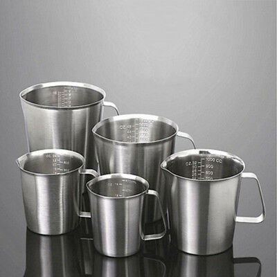 Stainless Steel Liquid Measuring Scale Cup Jug Pour Beaker For Lab Kitchen Tool